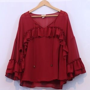 Sundance Deep Red Ruffle Blouse Top